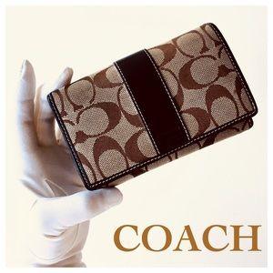 COACH Signature C Monogram Bi-Fold Brown Wallet